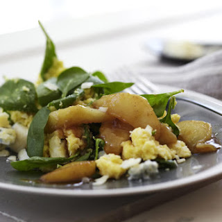 Spinach and Gorgonzola Polenta with Caramelized Pears