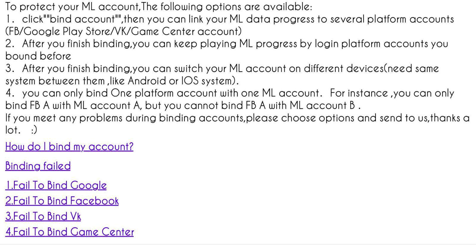 GUIDE] Account Problem - Bug Report - Mobile Legends: Bang Bang