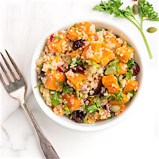 Roasted Sweet Potato Quinoa Salad with Zesty Lime Dressing
