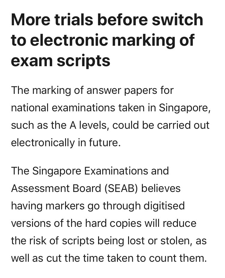 Article screenshot: More trials before switch to electronic marking of exam scripts.