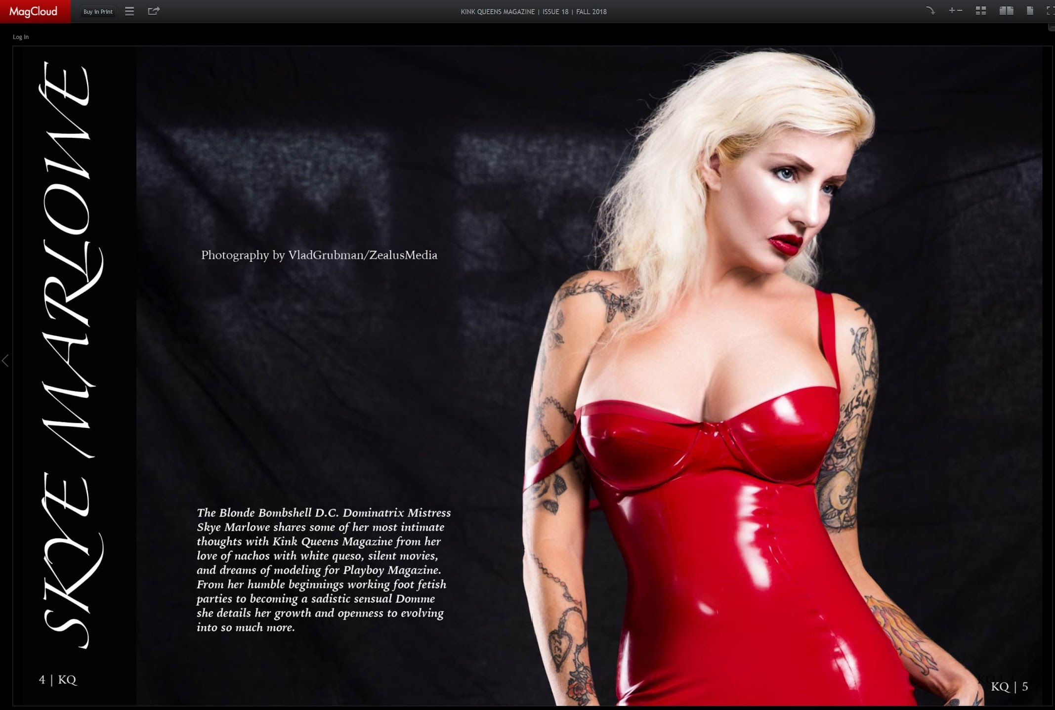 Publication in Kink Queens magazine - internal pages/ Photography by Vlad Grubman, Zealusmedia.com