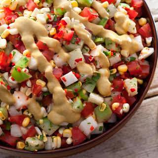 Tomato, Tomatillo, and Corn Salad with Avocado Dressing.