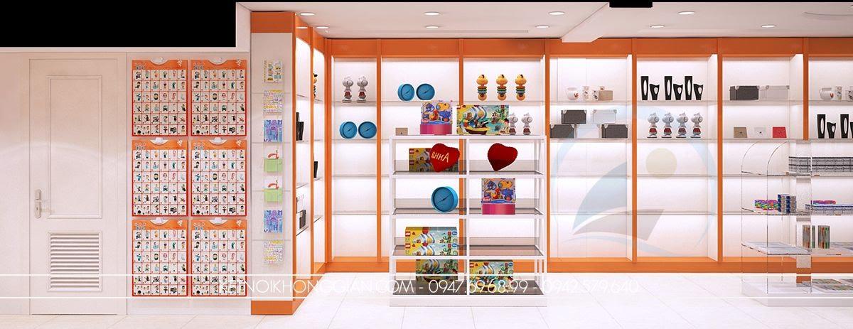 thiết kế nội thất nhà sách rộng rãi