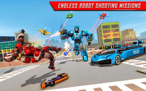 Flying Limo Robot Car Transform: Police Robot Game screenshots 8