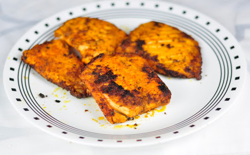 shallow fried salmon