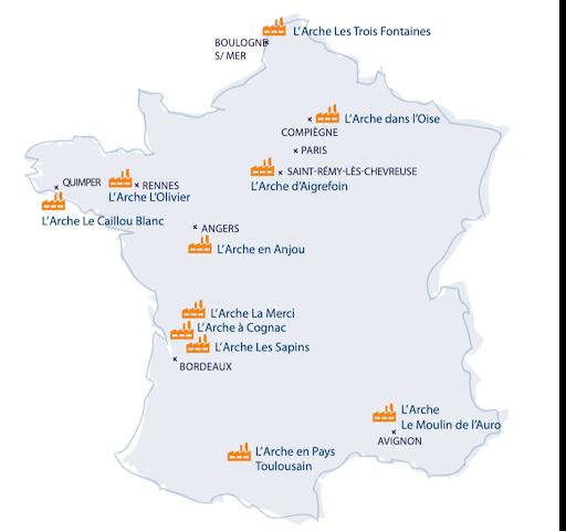carte ESAT de L'Arche en France Etablissements Spécialisés d'Aide par le Travail