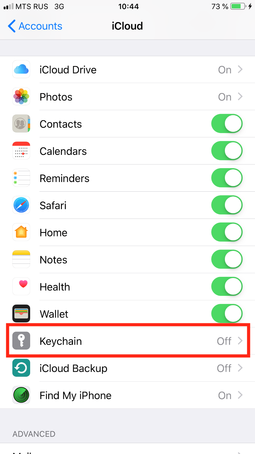 "Move the slider to ""on"" positon next to the ""Keychain"" item - iPhone"