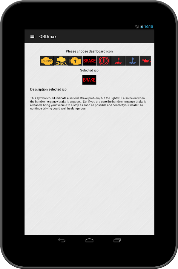 OBD2 scanner & fault codes description: OBDmax- screenshot