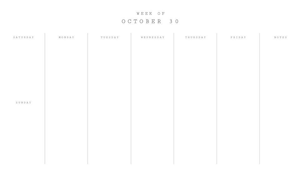 Minimal Weekly - Calendar Template