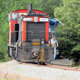 All The Live Long Day by Rick Covert - Transportation Trains ( railroad, vintage, locomotive, arkansas, railroad tracks, working, arkansas photographer, trains )