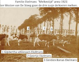 Photo: P fam Ekelmans; Melkes-tijd met zusjes Gijsbertha, Geertje, Gerdien
