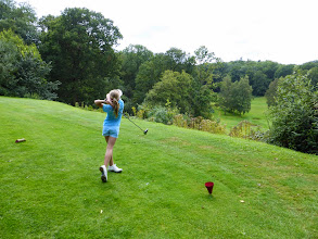 Photo: Millie teeing off on her favourite hole!