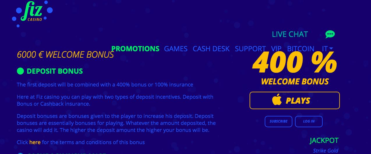 Casino Fiz bonuses