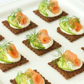 Goat Cheese Mousse and Smoked Salmon Canapés.