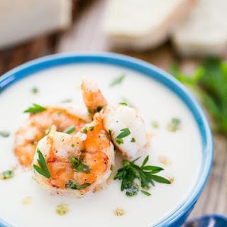 Creamy Cauliflower and Potato Soup with Shrimp