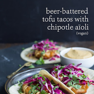 Beer Battered Tofu Tacos with Chipotle Aïoli.