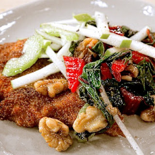 Chicken Schnitzel with Sautéed Swiss Chard and Apple Celery Salad