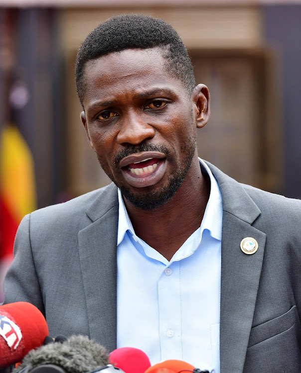Ugandan opposition leader and singer Robert Kyagulanyi Ssentamu, known as Bobi Wine, addresses a news conference in Kampala, Uganda February 22, 2021.