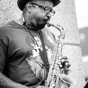 San Jose Sax Player by Shirley Cohen - People Musicians & Entertainers (  )
