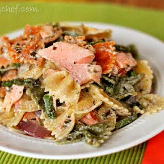 Pesto Pasta Salad with Smoked Salmon and Roasted Asparagus.