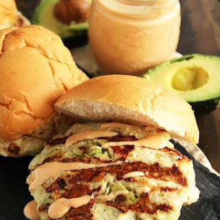 Chicken Avocado Burger with Chipotle Yogurt Sauce.