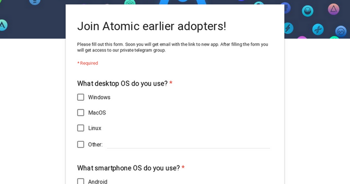 Join Atomic earlier adopters!