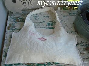 Photo: borsa vintage fatta con camiciola, senza fodera