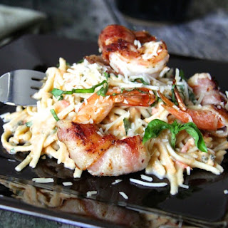 Linguine with Tomato, Basil and Habanero Sauce and Bacon-Wrapped Shrimp