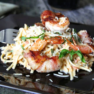 Linguine with Tomato, Basil and Habanero Sauce and Bacon-Wrapped Shrimp.
