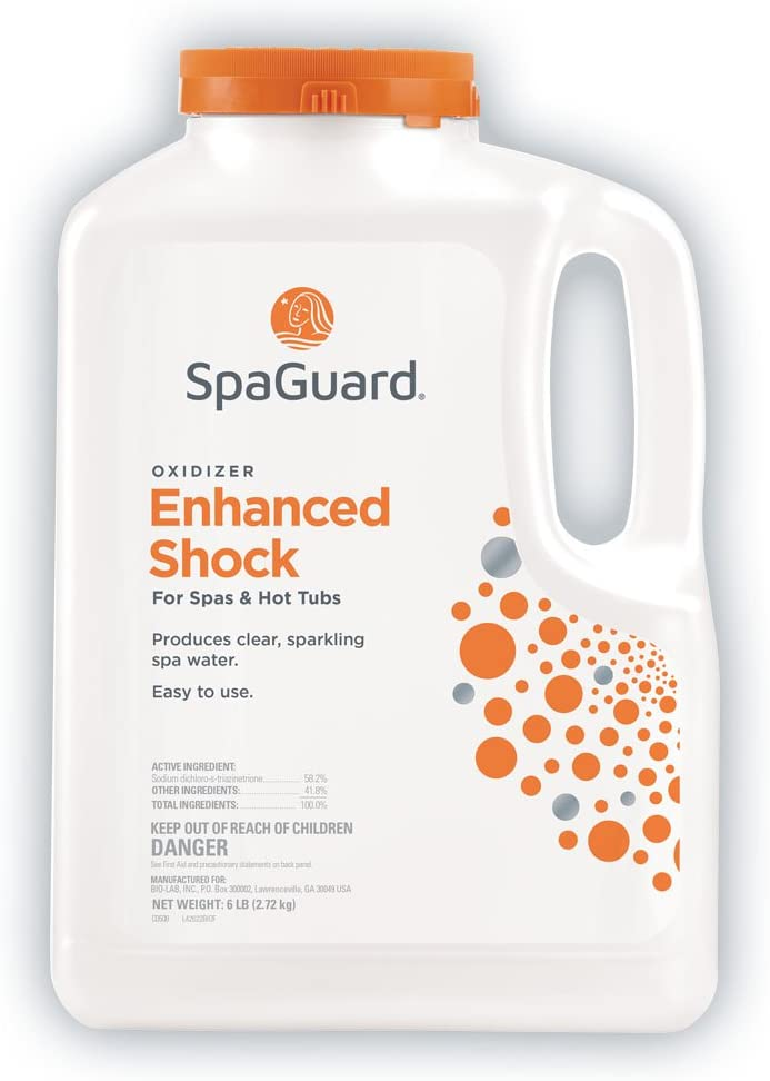 a white jug of SpaGuard enhanced spa shock for swimming pools