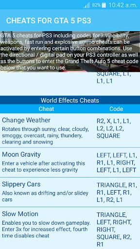 Cheats for GTA 5 - Unofficial 1.0 screenshots 4