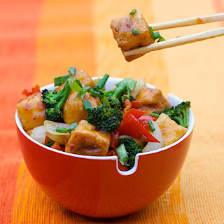 Sweet Chile-Pineapple Glazed Tofu with Mixed Veggie Stir Fry