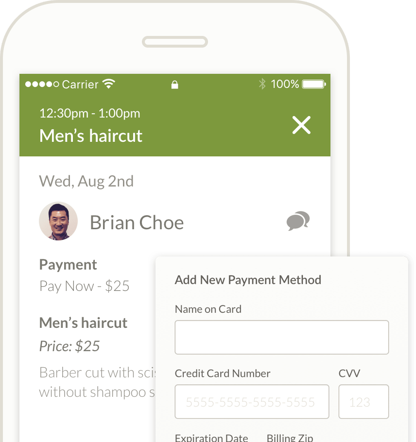 scheduling app accepts credit card payments
