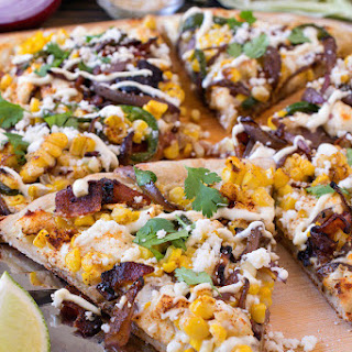Mexican Street Corn Bacon Pizza.