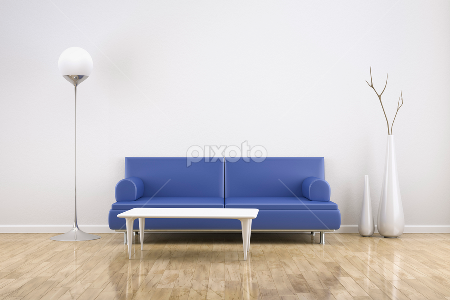room and sofa by Markus Gann - Illustration Products & Objects ( nobody, interior, home, decorative, residential, bright, illustration, apartment, house, architecture, space, parquet, modern, real, sofa, style, lifestyle, plain, leather, light, copy, blank, minimalism, white, table, living, rendering, luxury, new, cosy, couch, copy-space, wooden, floor, 3d, blue, contemporary, background, brown, design, wall, estate, room )