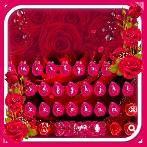 Beautiful Red Rose petals Keyboard