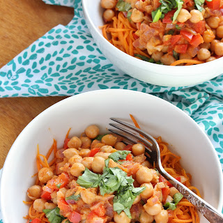Thai Red Curry Coconut Chickpeas with Sweet Potato Noodles.