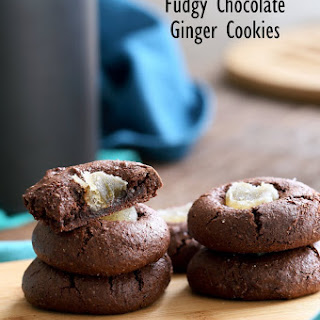 Fudgy Chocolate Cookies with Candied Ginger Gluten-free.