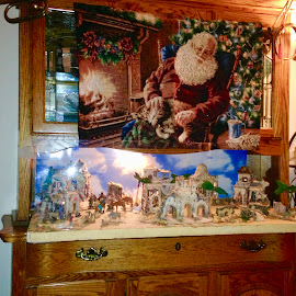 Santa sleeping over Christmas village by Donna Probasco - Public Holidays Christmas (  )