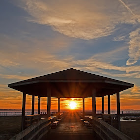 Peaceful Sunset by Bill Diller - Buildings & Architecture Other Exteriors ( picnicing, michigan, great lakes, relaxing, saginaw bay, tranquil, picnic, peaceful, calm, pavilion, sunset, calmness, tranquility, lake huron )