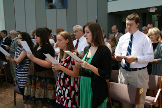 """Photo: The sending service on July 15 opened with the singing of """"Jesus Shall Reign."""""""