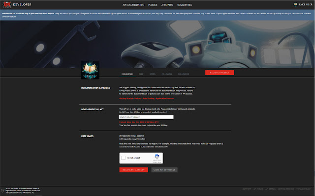 Riot Dev Portal Dark Theme