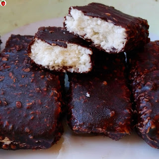 Delicious Homemade Vegan Bounty Bars.