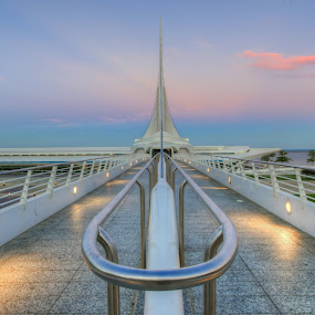 Milwaukee Art Museum by Anna-Lee Nemchek Cappaert - Buildings & Architecture Public & Historical ( milwaukee, sunset, twilight, milwaukee art museum, walking bridge )