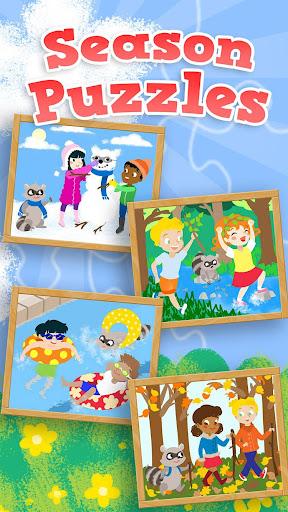 儿童季节拼图:适合幼儿和学前男孩,女孩木质拼图游戏
