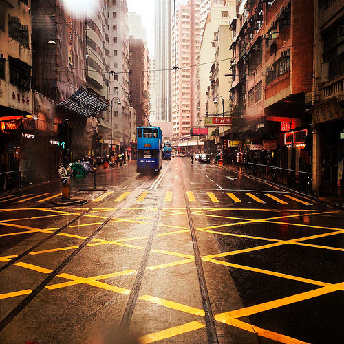 Hong Kong, Street, Rainy Day,  下雨天, 香港, 道路