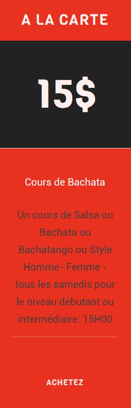 cours salsa danse Bachata, ateliers perfectionnement