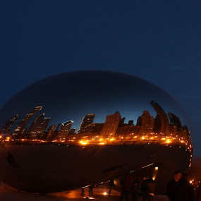 Blue Gold Bean by Karen Harris - Buildings & Architecture Statues & Monuments ( bean, lilghts, reflections, cityscape, city, windy city, city view, blue, buildings, dark, cloud, night, chicago, gold, street lights )