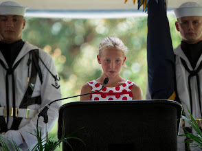 Photo: Piper Van Wagenen, one of Neil Armstrong's 10 grandchildren, speaks during a memorial service celebrating the life of her grandfather, Friday, Aug. 31, 2012, at the Camargo Club in Cincinnati. Armstrong, the first man to walk on the moon during the 1969 Apollo 11 mission, died Saturday, Aug. 25. He was 82. Photo Credit: (NASA/Bill Ingalls)