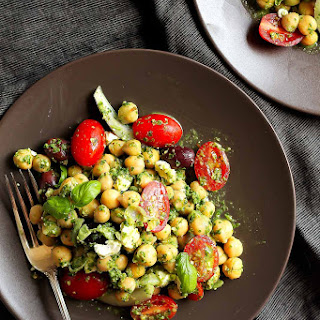 Easy Mediterranean Pesto Chickpea Salad.